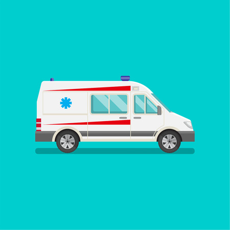 emergency vehicle: Icon of an ambulance car. Resuscitation vehicle. Car of an emergency quick help. A vector illustration in flat style for a poster, advertizing, various medical benefits and organizations.