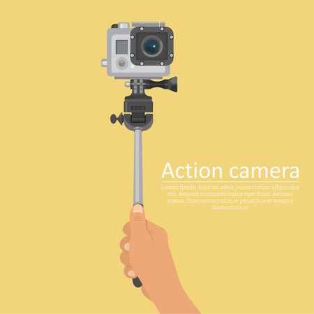 filming: Hand holding a stick for a selfie with action camera for a photo and video filming. A vectorial illustration in plane style.