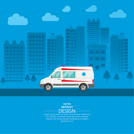 reanimation: Ambulance car on a city background. The resuscitation vehicle within the city. A vector illustration in flat style for a poster, advertizing, various medical benefits.