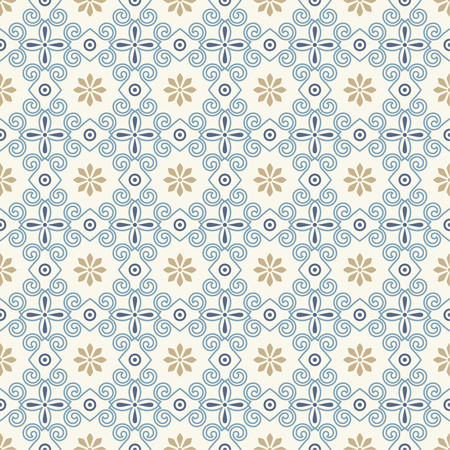 Vector seamless pattern. Luxury elegant texture with spiral elements and flowers. Pattern can be used as a background, wallpaper, wrapper, page fill, element of ornate decoration. Table cloth ornament