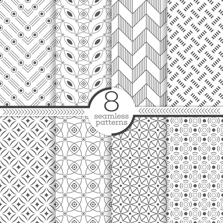 regularly: Set of eight seamless patterns. Modern stylish textures. Regularly repeating geometrical patterns with different geometric shapes. Abstract small textured surfaces. Illustration