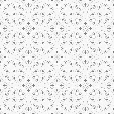 regularly: Seamless pattern. Modern stylish geometric texture with regularly repeating small dots, dotted circles, rhombuses Vector element of graphic design