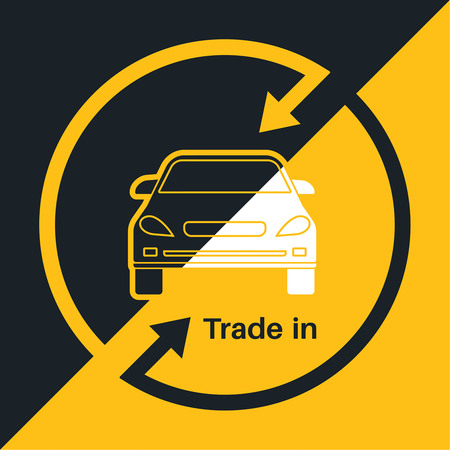 share prices: Two halves of the car with an exchange arrow index on a yellow and black background. Concept get prettier transactions it is made with the vehicle. A vector illustration in flat style.