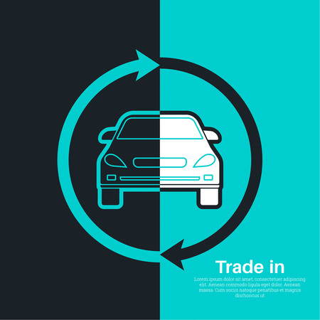 purchasing manager: Two halves of the car with an exchange arrow index on a blue and black background. Concept get prettier transactions it is made with the vehicle. A vector illustration in flat style for advertizing, posters, banners and other purposes.