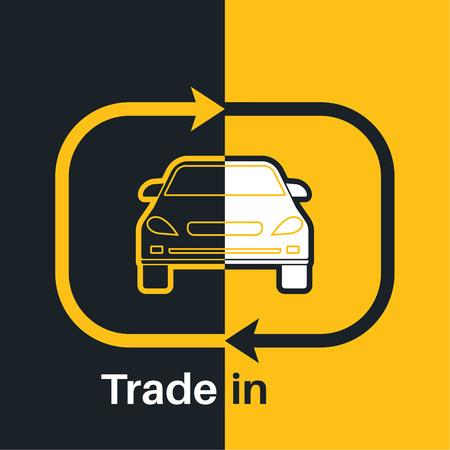 Deux moitiés de la voiture avec un indice échange de flèche sur un fond jaune et noir. Concept obtenir des transactions plus jolies elle est faite avec le véhicule. Une illustration de vecteur dans le style plat. Banque d'images - 60064569