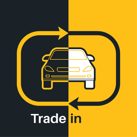 purchasing manager: Two halves of the car with an exchange arrow index on a yellow and black background. Concept get prettier transactions it is made with the vehicle. A vector illustration in flat style.