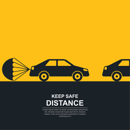 between: The parachute attached to the car, symbolizing about increase in a distance between vehicles. The concept of safety and fail-safety on roads, observance of the traffic regulation, an instruction to drivers. A vector illustration in flat style.