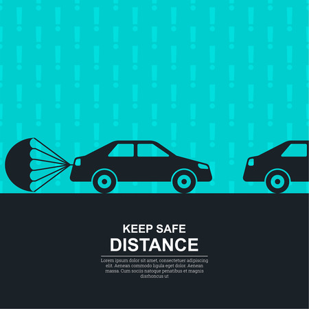 symbol vigilance: The parachute attached to the car against with exclamation marks, symbolizing about increase in a distance between vehicles and vigilance. The concept of safety and fail-safety on roads, observance of the traffic regulation, an instruction to drivers. A v