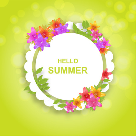 Hi summer. A bright background with flowers lilies. Poster, invitation, banner. Vector illustration.