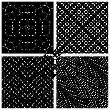dashed: Set of vector seamless pattern. Abstract monochrome backgrounds. Modern stylish textures. Regularly repeating geometrical shapes, dots, zigzags, diagonal waves. Vector element of graphical design