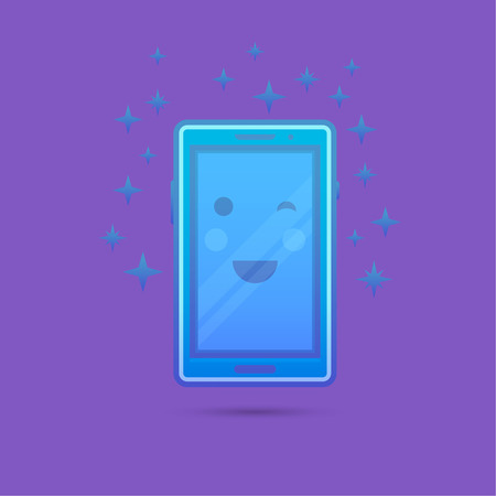 cheerfully: The smartphone icon with a smile and a flush on the screen which is cheerfully winking. A vectorial illustration in plane style.