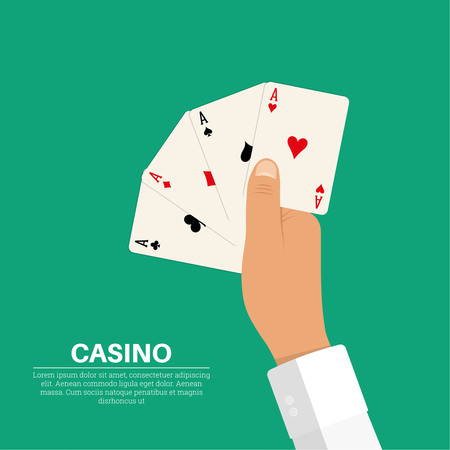 The hand holding four playing cards, aces of all colors. Symbolizes a combination of caret in poker. The concept of good luck, a prize, wealth in games of a casino. A vector illustration in flat style.