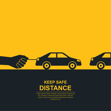 The hand constraining car speed symbolizes increase in distance between vehicles, reduction of speed. The concept of safety and fail-safety on roads, observance of traffic regulations. A vector illustration in flat style. Vectores