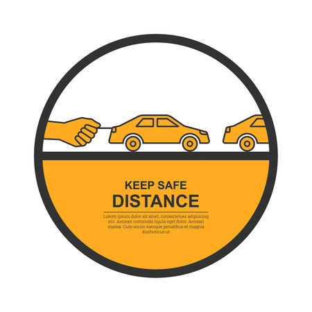 between: The hand constraining car speed symbolizes increase in distance between vehicles, reduction of speed. The concept of safety and fail-safety on roads, observance of traffic regulations. A vector illustration in flat style. Illustration