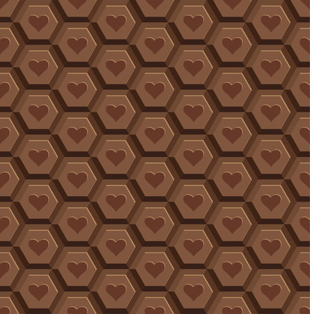 heart tone: Seamless pattern from chocolate tiles with a print heart. Brand of quality of chocolate. We will apply as an element of packaging, a wrapper, a background. Vector illustration.