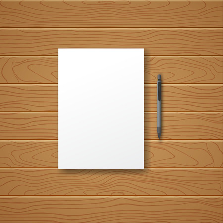 pen and paper: White empty sheet of paper and pen against in the form of a wooden table. Vector illustration of a template, flyer, poster, model.