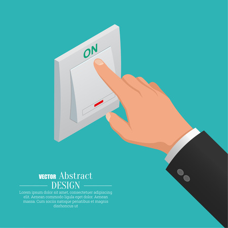 activate: The hand turns on light switch. A vector isometric illustration for a poster, advertizing.