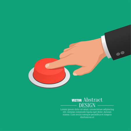 The hand in a suit presses the red button. Vector isometric illustration.