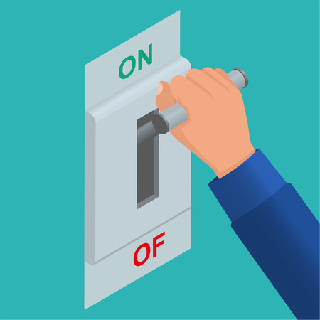 Hand including a knife switch. Electric chain is included. Vector isometric background. Start up