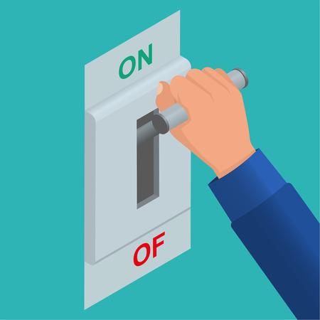 Mano que incluye un interruptor de cuchilla. se incluye cadena Electric. Vector de fondo isométrica. Puesta en marcha Foto de archivo - 61238016