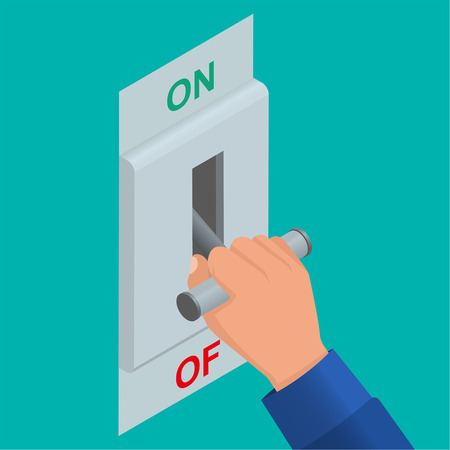 disconnect: Hand which is switching off a knife switch. Electric chain is switched off. Vector isometric background Illustration
