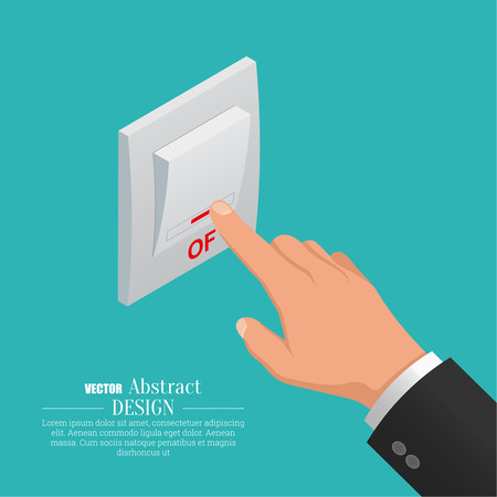 Hand which is switching off the switch of light devices. Vector isometric illustration for a poster, advertizing.