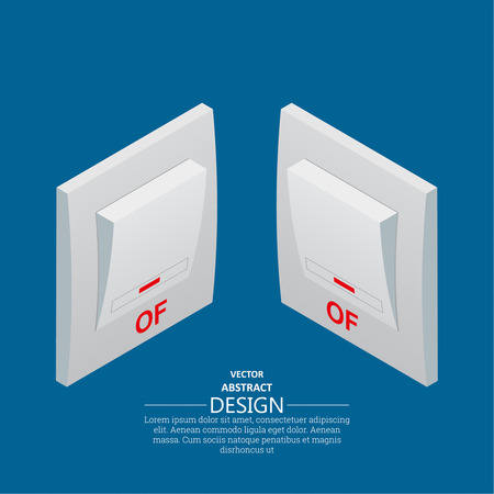 Two icons light switch in the switched-off mode. Vector isometric illustration. Projection at the left and on the right.