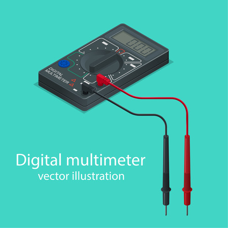 ammeter: Digital multimeter. The measuring device in isometric style. Realistic vector illustration.