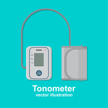 arterial: Digital tonometer. Icon of the device for measurement of arterial pressure. A vector illustration in flat style.