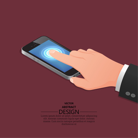 touch screen hand: Hand finger on the touch screen of phone. A vectorial illustration in isometric, 3D style. Illustration