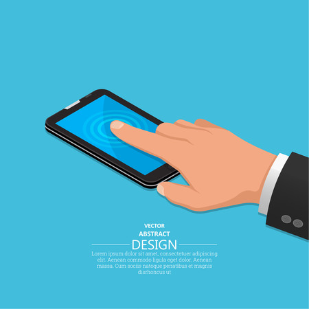 touch screen phone: Hand finger on the touch screen of phone. A vectorial illustration in isometric, 3D style. Illustration