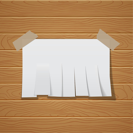 pasted: The Chity sheet of paper cut by strips on a wooden wall. The white paper template pasted by an adhesive tape with a shadow. Vector realistic illustration. Illustration