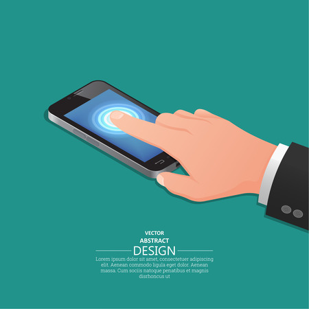 touch screen phone: Hand finger on the touch screen of mobile phone similar to the iPhone. A vector illustration in isometric, 3D style.