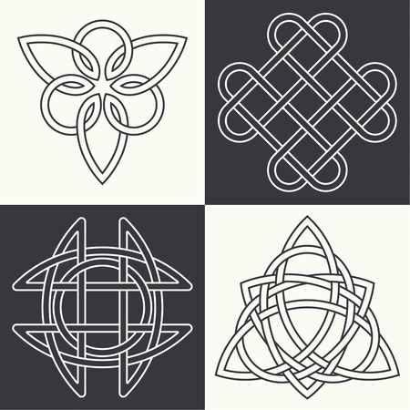 triangular eyes: Set of the ancient symbols executed in linear style. Celtic signs, knots and interlacings. Concept of secret and origin of mankind. The mascots and charms executed in the form of logos. Magic signs. Vector illustration.