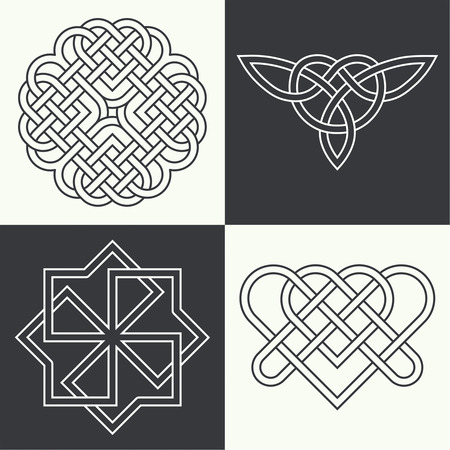 symbols: Set of the ancient symbols executed in linear style. Celtic signs, knots and interlacings. Concept of secret and origin of mankind. The mascots and charms executed in the form of logos. Magic signs. Vector illustration.