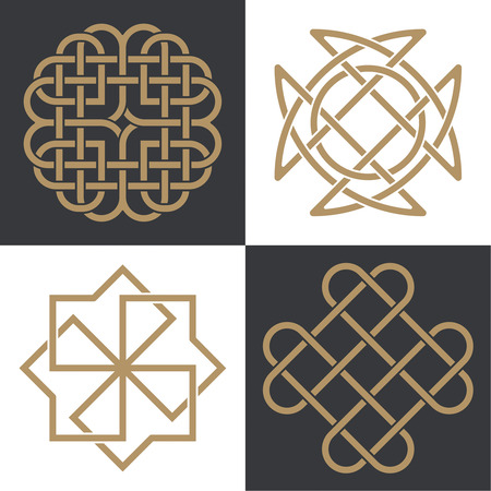 A set of the ancient symbols executed in the Celtic style. Secret signs, knots and interlacings. Concept of secret and origin of mankind. The mascots and charms executed in the form of logos. Magic signs. Vector illustration.