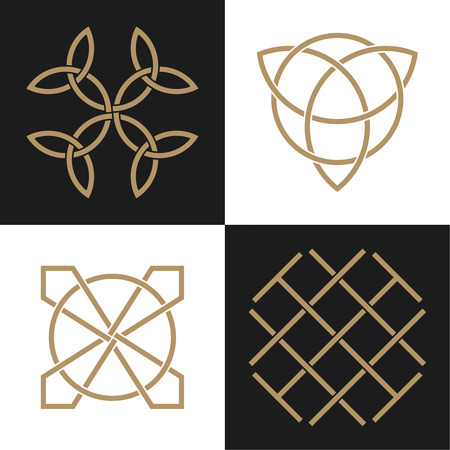 origin: A set of the ancient symbols executed in the Celtic style. Secret signs, knots and interlacings. Concept of secret and origin of mankind. The mascots and charms executed in the form of logos. Magic signs. Vector illustration.