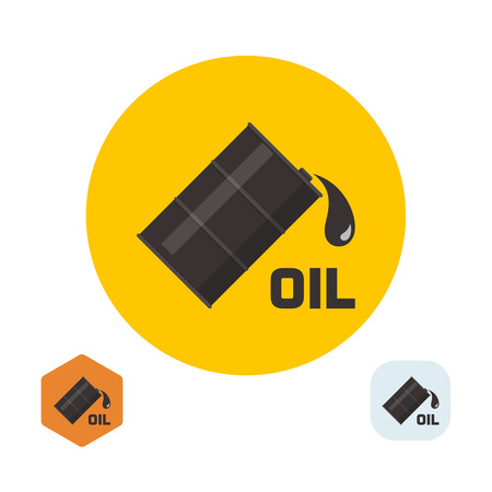 flank: Flank badge with oil and the falling drop. A vector illustration in flat style. Illustration