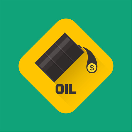 futures: Flank badge with oil and the falling drop with a dollar symbol. A vector illustration in flat style.