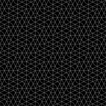 Seamless pattern. Abstract geometrical background. Original linear texture with repeating thin broken lines, polygons, difficult polygonal shapes, rhombuses, triangle. Monochrome. Black. White. Ilustração