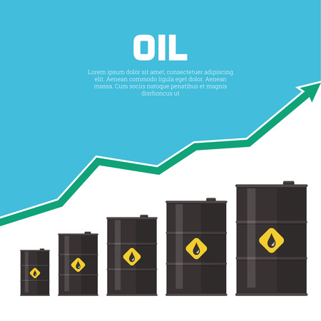 futures: Tanks with oil and the schedule of growth. Concept of increase in prices for oil. A vector illustration in flat style.