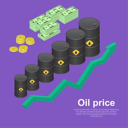 profitability: Tanks with oil with the schedule of growth. The concept of increase in profitability from sales. A vector illustration in isometric, 3D style. Illustration
