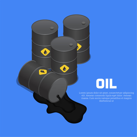 spilled: Tanks with oil. The lying barrel with spilled liquid. A vector illustration in isometric, 3D style.