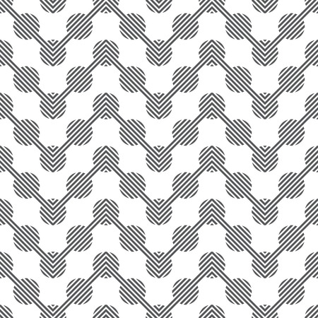 Seamless pattern. Modern stylish texture. Constantly repeating geometrical ornament consisting of zigzag lines and striped circles. Vector element of graphical design