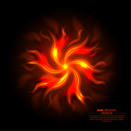 scorching: Fiery abstract background. The turning tongues of flame on a black substrate. A revolving object from fire clots. Wall-paper on a desktop. Vector illustration. Illustration