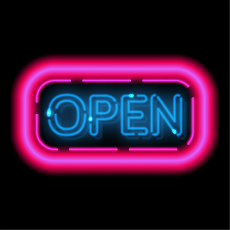 Neon sign Openly. The shining frame in a retro style with illumination lamps. Information billboard. Vector illustration. Ilustracja
