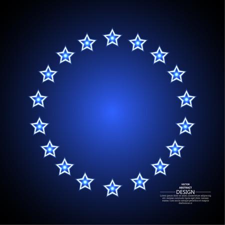 leds: Fondo abstracto con las estrellas brillantes situadas alrededor. Un adorno circular en un estilo retro. Ilustración del vector.