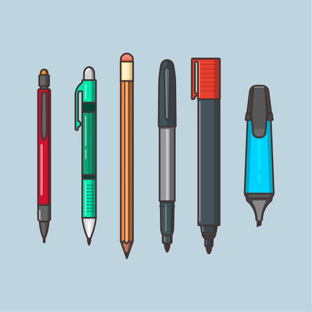 A vector set of the writing objects. Pencils with eraser, a pen, markers in linear flat style. Office and school supplies on the blue isolated background.