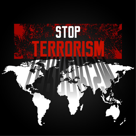 mankind: Stop terrorism. A protest against terrorism, the extremist organizations against the background of the world map. Mankind under the threat. Vector illustration. Illustration