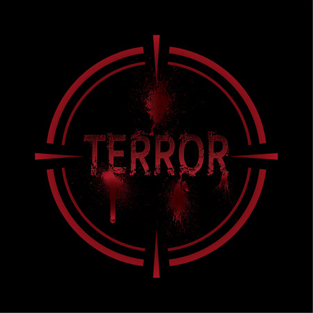 The vector illustration expressing the concept terror under a sight. Terrorism has to be destroyed. To stop the extremist organizations. An emblem for the press.
